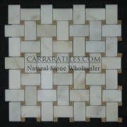 Afyon Gold Sugar Marble Basketweave Mosaic with Golden Tobacco Dots Polished