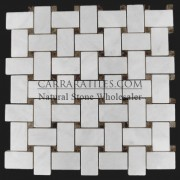 Carrara Marble Italian White Bianco Carrera Basketweave Mosaic Tile with Dark Emperador Dots Polished