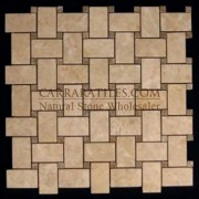 Crema Marfil Marble Basketweave Mosaic Tile with Light Emperador Dots Polished