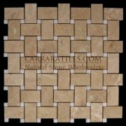 Crema Marfil Marble Basketweave Mosaic Tile with White Thassos Dots Polished
