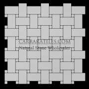 Bianco Dolomiti Marble Italian White Dolomite Basketweave Mosaic Tile with Bianco Dolomite Dots Polished