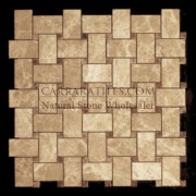 Light Emperador Marble Basketweave Mosaic Tile with Dark Emperador Dots Polished