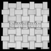Statuary Marble Italian White Statuario Basketweave Mosaic Tile with Bardiglio Gray Dots Polished