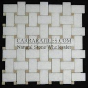 Statuary Marble Italian White Statuario Basketweave Mosaic Tile with Crema Marfil Dots Polished