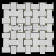 Statuary Marble Italian White Statuario Basketweave Mosaic Tile with Green Dots Polished