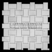 Statuary Marble Italian White Statuario Basketweave Mosaic Tile with Statuary Crystal White Dots Polished