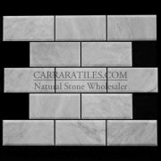 Carrara Marble Italian White Bianco Carrera 3x6 Marble Subway Tile Beveled Polished