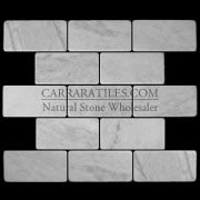 Carrara Marble Italian White Bianco Carrera 3x6 Marble Subway Tile Tumbled