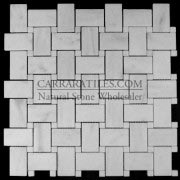 Carrara Marble Italian White Bianco Carrera Basketweave Mosaic Tile with Bianco Carrara Dots Polished