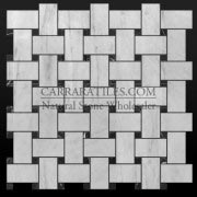 Carrara Marble Italian White Bianco Carrera Basketweave Mosaic Tile with Negro Marquina Black Dots Honed