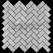 Carrara Marble Italian White Bianco Carrera Herringbone Mosaic Tile Honed