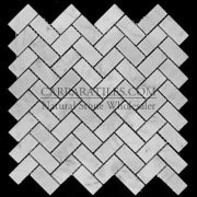 Carrara Marble Italian White Bianco Carrera Herringbone Mosaic Tile Polished