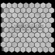 "Carrara Marble Italian White Bianco Carrera 1"" Hexagon Mosaic Tile Tumbled"