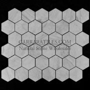 "Carrara Marble Italian White Bianco Carrera 2"" Hexagon Mosaic Tile Honed"