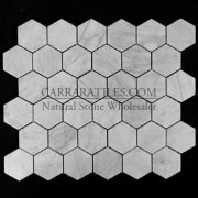 "Carrara Marble Italian White Bianco Carrera 2"" Hexagon Mosaic Tile Polished"