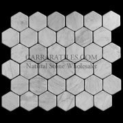 "Carrara Marble Italian White Bianco Carrera 2"" Hexagon Mosaic Tile Tumbled"