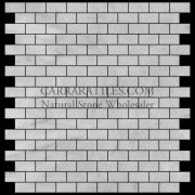 Carrara Marble Italian White Bianco Carrera Mini Brick Mosaic Tile Honed