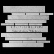 Carrara Marble Italian White Bianco Carrera Random Brick Random Strip Polished